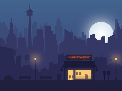 Late Night Takeaway skyscraper town street dark flat takeaway restaurant cityscape night building city illustration
