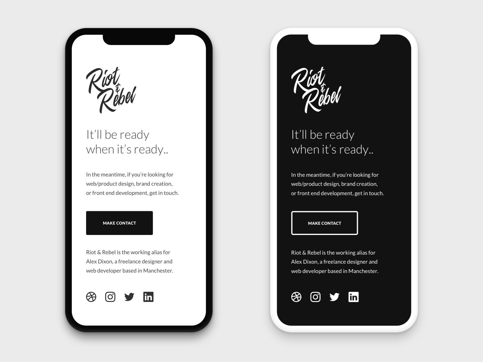 Mobile Holding Mobile logo branding coming soon simple clean landing page holding page minimal portfolio freelance personal website web design mobile design responsive mobile
