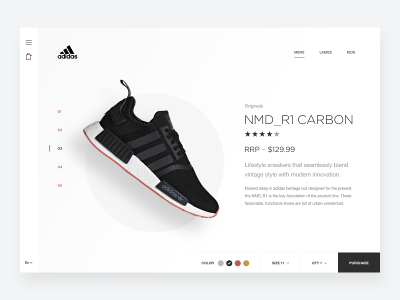 Adidas Sneaker Store Concept landing hero footwear clean simple minimal website web design adidas nike sneaker shoe store ecommerce shop minimalist trainer sports fashion product