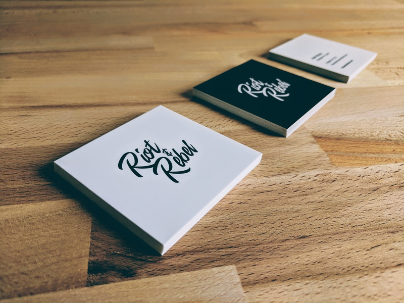 Freelance Business Cards typography illustration business stationery contact printed square simple minimalist clean card personal freelance logo identity branding brand business card