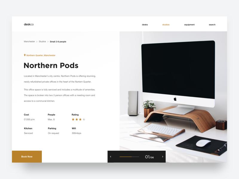 Deskco – studio page responsive office workspace desk typogaphy ux ui landing page website ecommerce booking studio web design minimalist minimal simple clean
