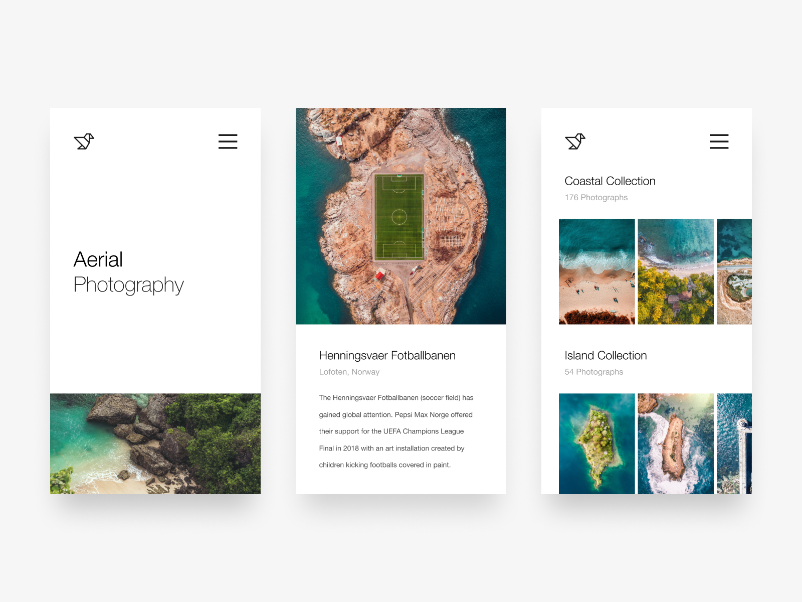 Aerial Photography Website clean drone aerial card ux typography ui web design minimalist simple minimal photo photography gallery homepage web responsive app mobile website