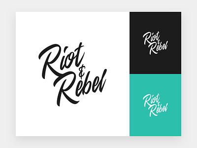 Riot & Rebel Logo (Second Iteration) logo brand mark type typography logotype script illustration personal personal branding freelance agency clean minimal mono lettering identity calligraphy badge black