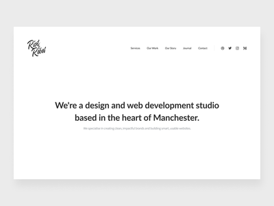 Agency site preview landing homepage calligraphy type logo ux ui website web design studio agency branding black black and white mono simple minimalist minimal clean typography
