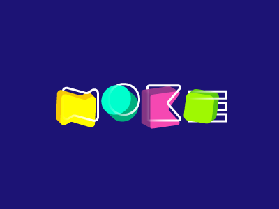 Noke cubes cube name word outline 3d e k o n letters typography