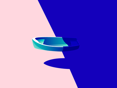One Lonely Boat minimal gradient shadow night day dark darkness illustration sea water boat lonely