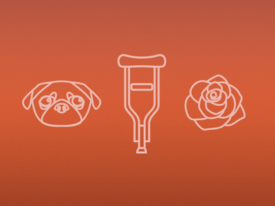 Valentines Day icons illustration line rose crutch pug