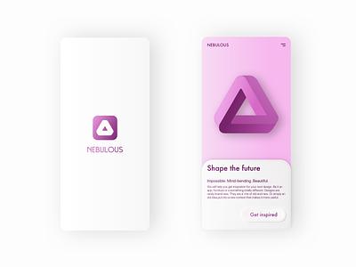 Nebulous Exploration practice exploration skeuomorph geometry shapes purple app icon ui typography sketch app logo branding design vector illustration