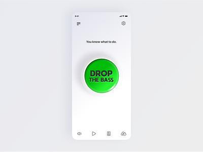 HBA - Huge Button App ui design icons music ios exploration simple drop bass app skeuomorph shadows button typography sketch app design vector illustration