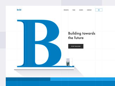 Building Company Website cta build concept blue letter guidelines grid sketch steel door shadow ux web ui logo sketch app branding design vector illustration