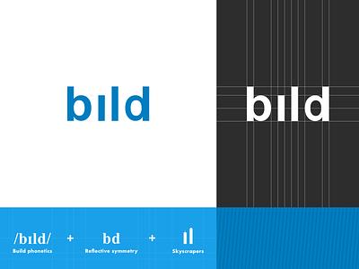 Bild Logo Concept grid reflective symmetry phonetics skyscraper presentation blue process build blueprint simple logo sketch app branding design vector illustration
