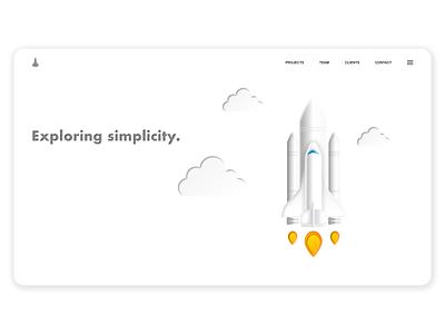 Exploring simplicity. portfolio blastoff spaceship concept sky clouds black  white simple shading rocket web ui typography logo sketch app branding design illustration vector