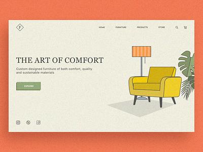 Retro Comfort Concept noise lamp armchair monstera concept simple retro ecommerce shop furniture icon web ui typography logo sketch app branding design illustration vector