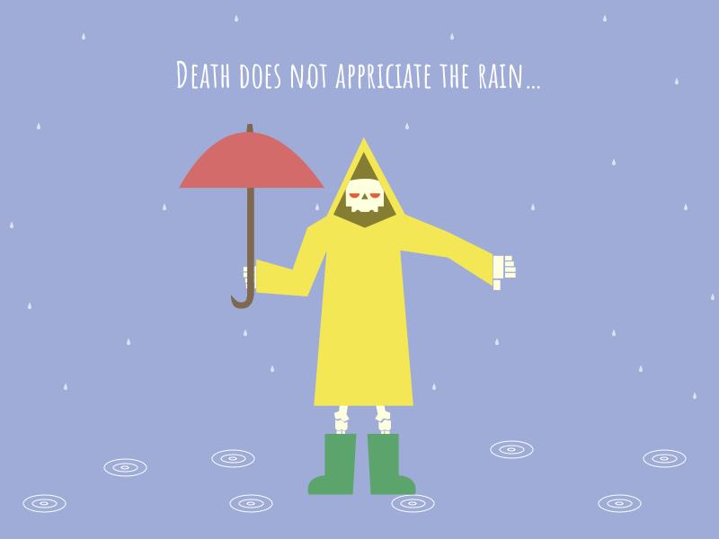 Death to the Rain dislike umbrella skeleton illustration death rain