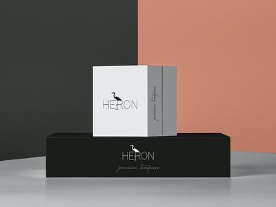 Heron Timepiece Logo boxes minimalist packaging heron watch typography logo branding affinity designer design vector illustration
