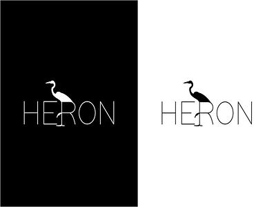 Heron Logo blackandwhite clean simple luxury logo heron typography logo branding affinity designer design vector