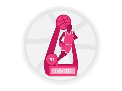 Dribbble Invite player ball draft dribbble dribble invite trophy basketball dribbble invite affinity designer design vector illustration