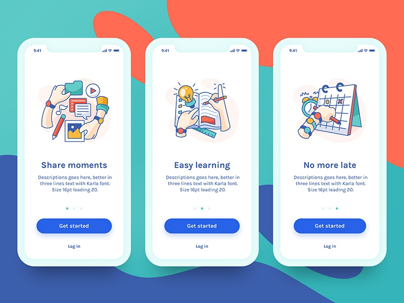 Share, Learn, No more late ui ux app icons schedule learning share illustration on boarding
