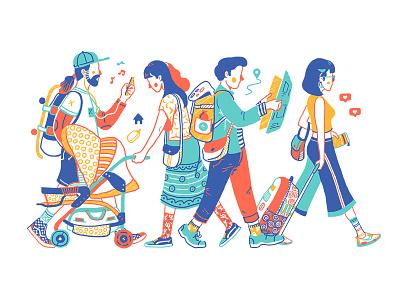 Take a walk character traveling travel people walking illustration arts