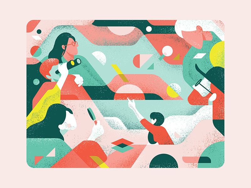 Hey look. Over there! people indonesia color shape pattern arts illustration