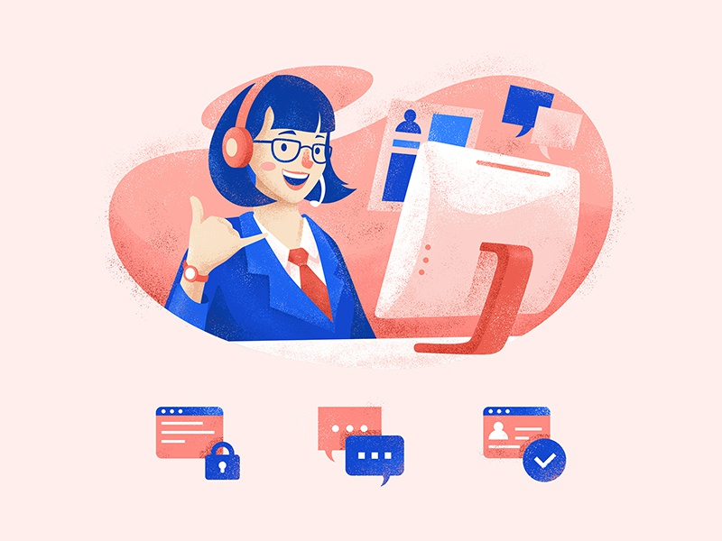 Hello there! blocked account girl character indonesia support customer support illustration