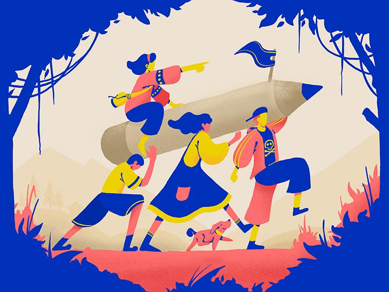 Let's go outside character picnic walking forest illustration