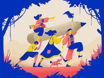 Let's go outside character picnic walking forest illustration