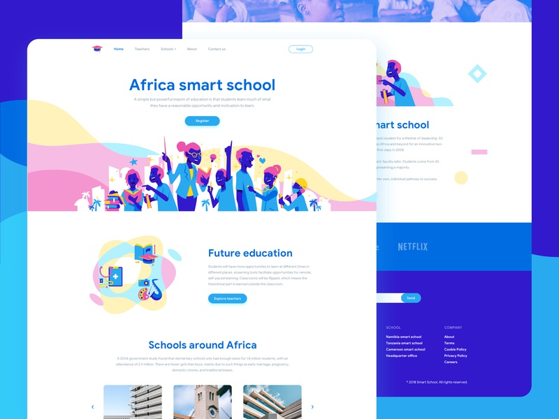 Smart school africa smart school landing page uidesign website design character ui illustration