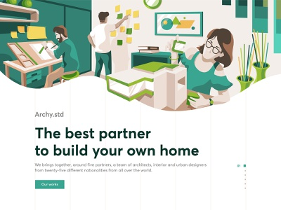 Architecture studio landing page home architecture website character indonesia design ui illustration