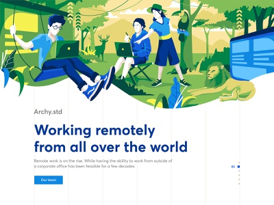 Working remotely remote working remotely indonesia ui website landing page design character illustration