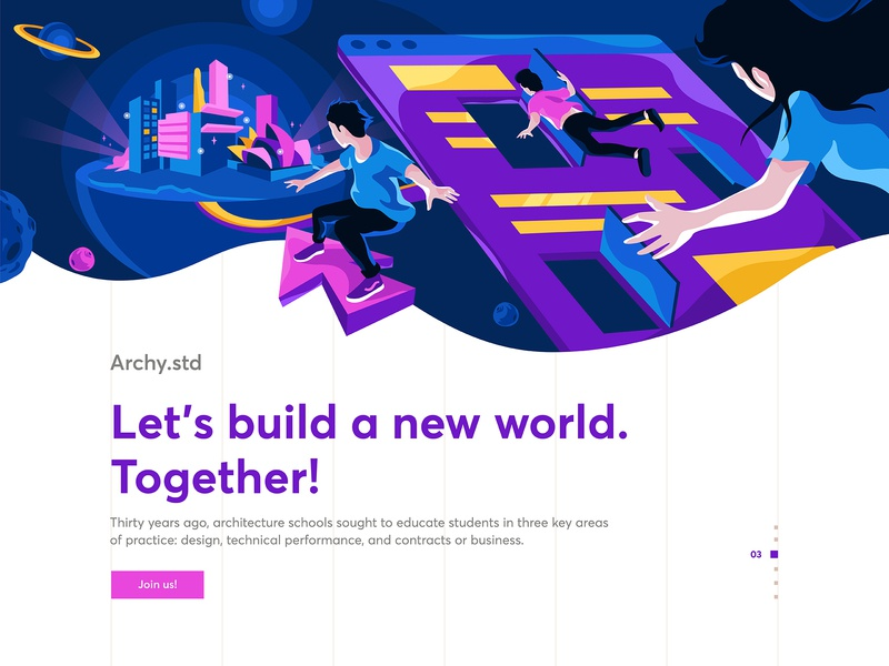 Future Architecture website ui landing page artwork indonesia design arts character illustration