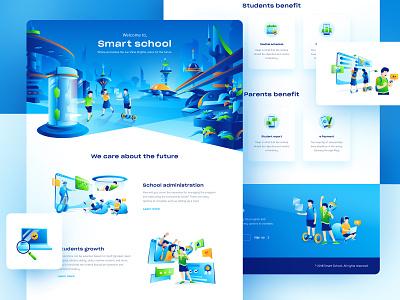 Smart School 2.0 education future smart school design illustration design illustration website