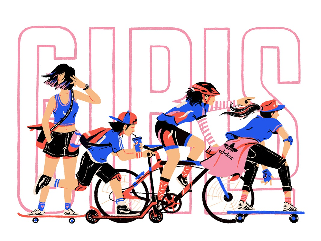 Girls on the move people move girls character design artwork arts character illustration