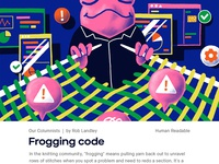 Frogging code developer engineer code frogging code frog magazine illustration magazine illustration illustration design