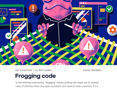 Frogging code developer engineer code frogging code frog magazine illustration magazine illustration illustration design