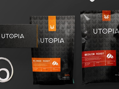 Utopia - coffee shop packaging business cards graphicdesigner company branding visual identity logo designer logo coffeeshop branding