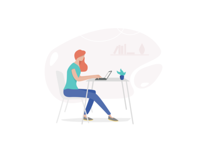 Working Woman Website Illustration for Mahabis