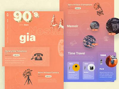 90's Store Concept store 1990 memory timetravel retro antique ecommerce bidding webdesign web bitcoin buttons cards clean ux ui design