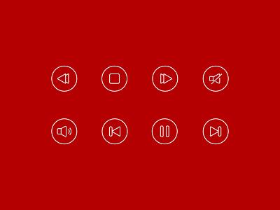 Web App Icons - Music Player icons app website flat icon illustration ux ui web design branding minimal creative