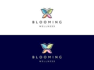 Blooming Wellness wellness lettering flat app identity ui typography web logo design branding minimal creative