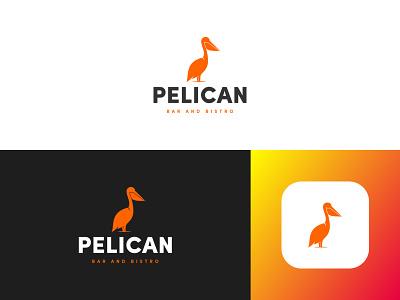 Pelican #2 flat design brand identity bar pelican lettering flat identity app ui typography web logo design branding minimal creative
