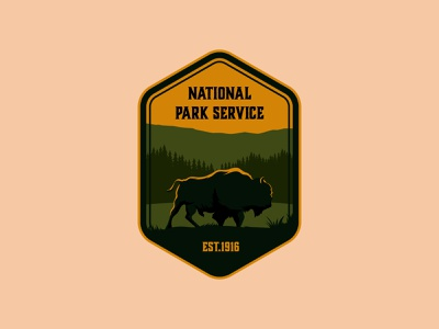 National Park Service typography design logo parks mountain vintage retro arrowhead bison crest badge creative