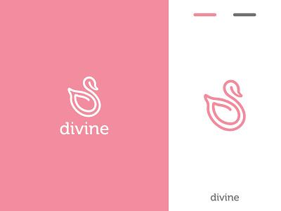 Divine Logo brand swan pastel wellness beauty flat ui web icon typography logo branding design minimal creative