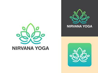Nirvana Yoga yoga studio studio yoga logo ayurveda yoga ui flat typography logo branding design minimal creative