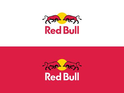 Red Bull Redesign Concept wings energy drink identity flat design creative minimal web logo branding redesign redbull