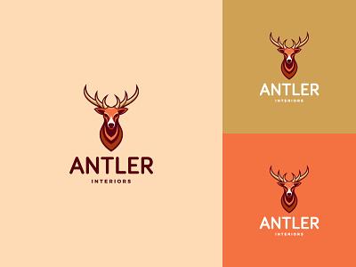 Antler Logo web flat ux ui logo antler deer interiors branding design minimal creative