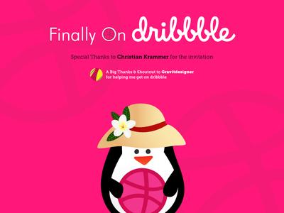 Hello Dribbble open source linux thanks hello illustration shot debut design