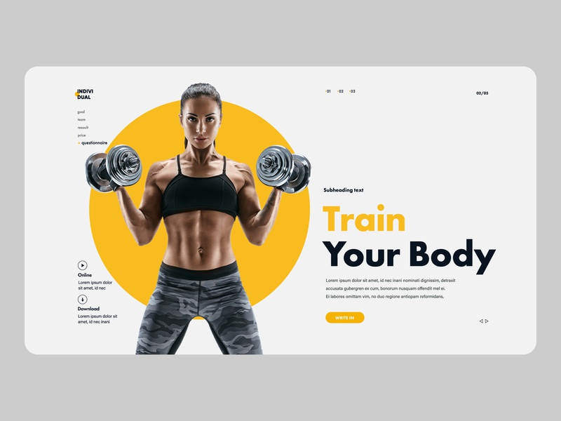 Individual Fitness company website workout tracker gym app fitness business flat minimal clean design typography graphic design web app icon logo ux ui branding creative