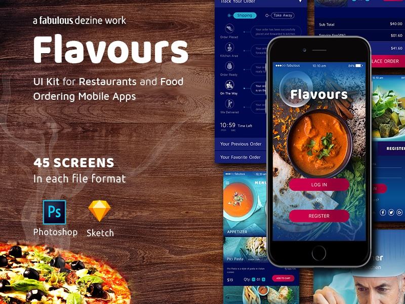 Flavours - UI Kit for Restaurants & Food Ordering Apps by