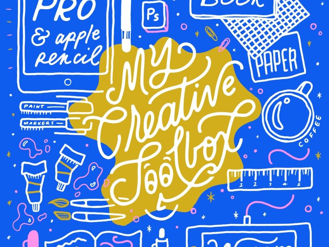 My Creative Toolbox lauren hom hand drawn script color tools creative illustration lettering hand lettering homwork